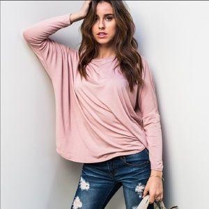April Spirit Tops - Dusty Rose Crochet Detail Top